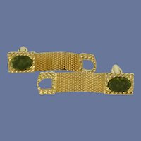 Green Jade Gold Tone Wrap Around Cufflinks