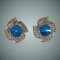 Gorgeous Blue Rhinestone Clip Earrings
