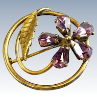 Purple Faux Amethyst Flower Pin Brooch