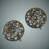 Sterling Silver Round 1940's Screw Type Earrings