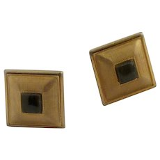 Square Brushed Gold Tone with Jade Stone Cuff Links Cufflinks
