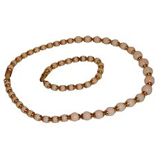 Avon Pink Necklace and Bracelet with Gold Tone Spacers