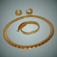 Gold Tone Cocoon Bracelet, Earrings & Necklace