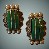 Ornate Mexican Sterling Silver Green  Screw On Earrings