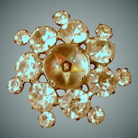 Unusual Eastern Star Diamond Rhinestone Pin Brooch
