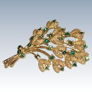 Gold Tone with Green Rhinestone Bouquet of Flowers Pin Brooch
