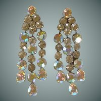 Vintage Big Luxury Clear Diamond Rhinestone Clip on Earrings
