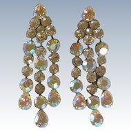 Vintage Big Luxury Clear Diamond Rhinestone Clip on Earrings