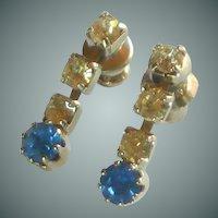 Blue and Diamond Rhinestone Dangle Pierced Earrings