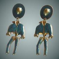 Western Cowboy Dangle Pierced Earrings