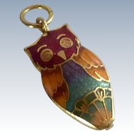 Cloisonné Owl Charm Pendant