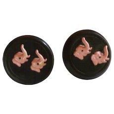 Swank Pink Elephant Heads on Large Black Cufflinks Cuff Links
