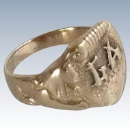Initial GA Man's Gold Filled Ring with Sphinx