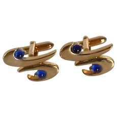 Swank Gold Tone with Blue Accent Cuff Links Cufflinks