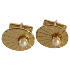 Swank Oval Gold Tone with Faux Pearl Cuff Links Cufflinks