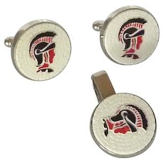 Red, Black and White Mosaic Like Spartan Cufflinks Cuff Links & Tie Clip