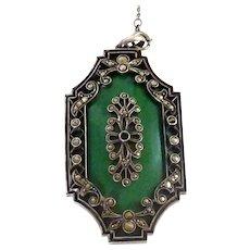Beautiful Art Deco Sterling Silver Marcasite Pendant Necklace