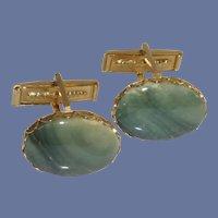 Green Stone Gold Tone Cuff Links Cufflinks