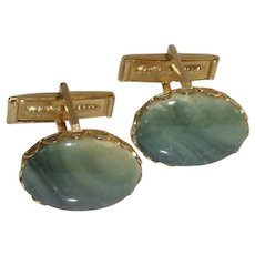 Green Stone Gold Tone Cuff Links Cufflinks