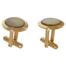 Gold Tone Black Mother of Pearl Cuff Links Cufflinks