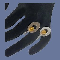 Oval Swank Tiger Eye Stone Silver Tone Cuff Links Cufflinks