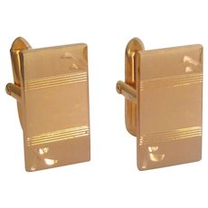 Swank Gold Tone Rectangle Cuff Links Cufflinks