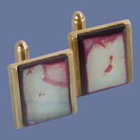 Dante White and Pink Mother of Pearl Cuff Links Cufflinks