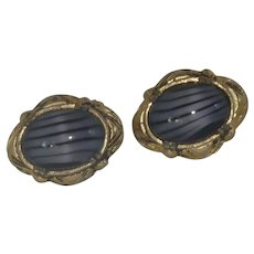 Purple Ribbon Glass in Gold Tone Cuff Links Cufflinks
