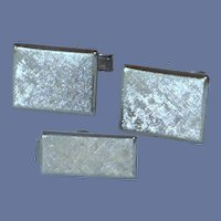 Brushed Silver Toned Rectangle Cufflinks and Tie Bar