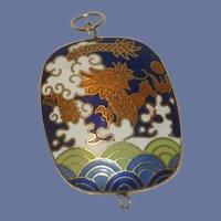 Cloisonné Dragon Design Blue and White Pendant