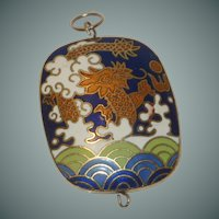 Cloisonné Dragon Design Blue and White Pendant