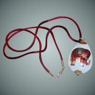 Cloisonné Elephant Tear Drop Necklace Pendant