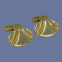Swank Oval Chunky Gold Tone Cuff Links Cufflinks