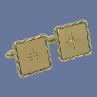 Square Brushed Gold Tone Cuff Links Cufflink
