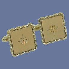 Square Brushed Gold Tone Cuff Links Cufflink