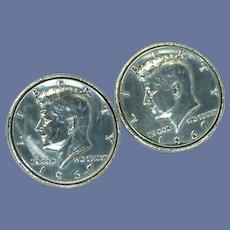 1967 Kennedy Half Dollar Cufflinks Cuff Links