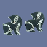 Large Black and Silver Tone Cat Kitten Cuff Links
