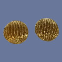 Monet Gold Tone Round Dome Clip On Earrings