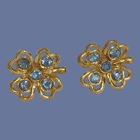 Blue Rhinestone Four Leaf Screw On Earrings