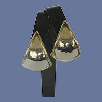 Triangle Puffed Gold and Silver Pierced Earrings