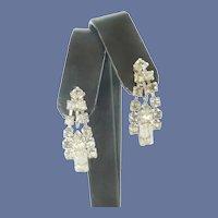 Diamond Rhinestone Dangle Screw On Earrings
