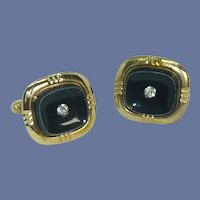 Black Gold Tone Setting with Rhinestone Cufflinks Cuff Links