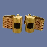 Gold Tone Wrap Around Black Onyx Stone Cufflinks Cuff Links