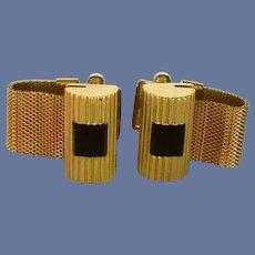 Gold Tone Wrap Around Black Onyx Stone Cufflinks Cuff Links