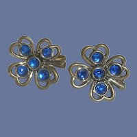 Sapphire Blue Rhinestone Four Leaf Screw On Earrings