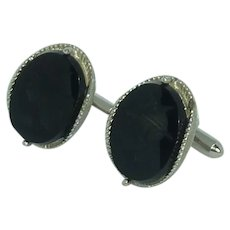 Swank Silver Tone Black Glass Norse Warrior Cufflinks Cuff Links