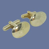 Gold Tone Simple Oval Cuff Links Cufflinks