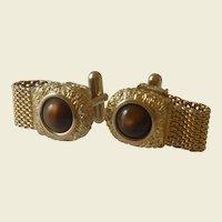 Brown Faux Stone Wrap Around Cuff Link Cufflinks