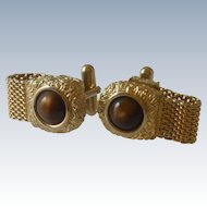 Brown Faux Stone Wrap Around Cuff Link Cufflinks