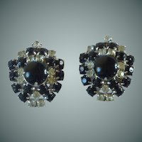 Black Stone & Diamond Rhinestone Screw On Earrings